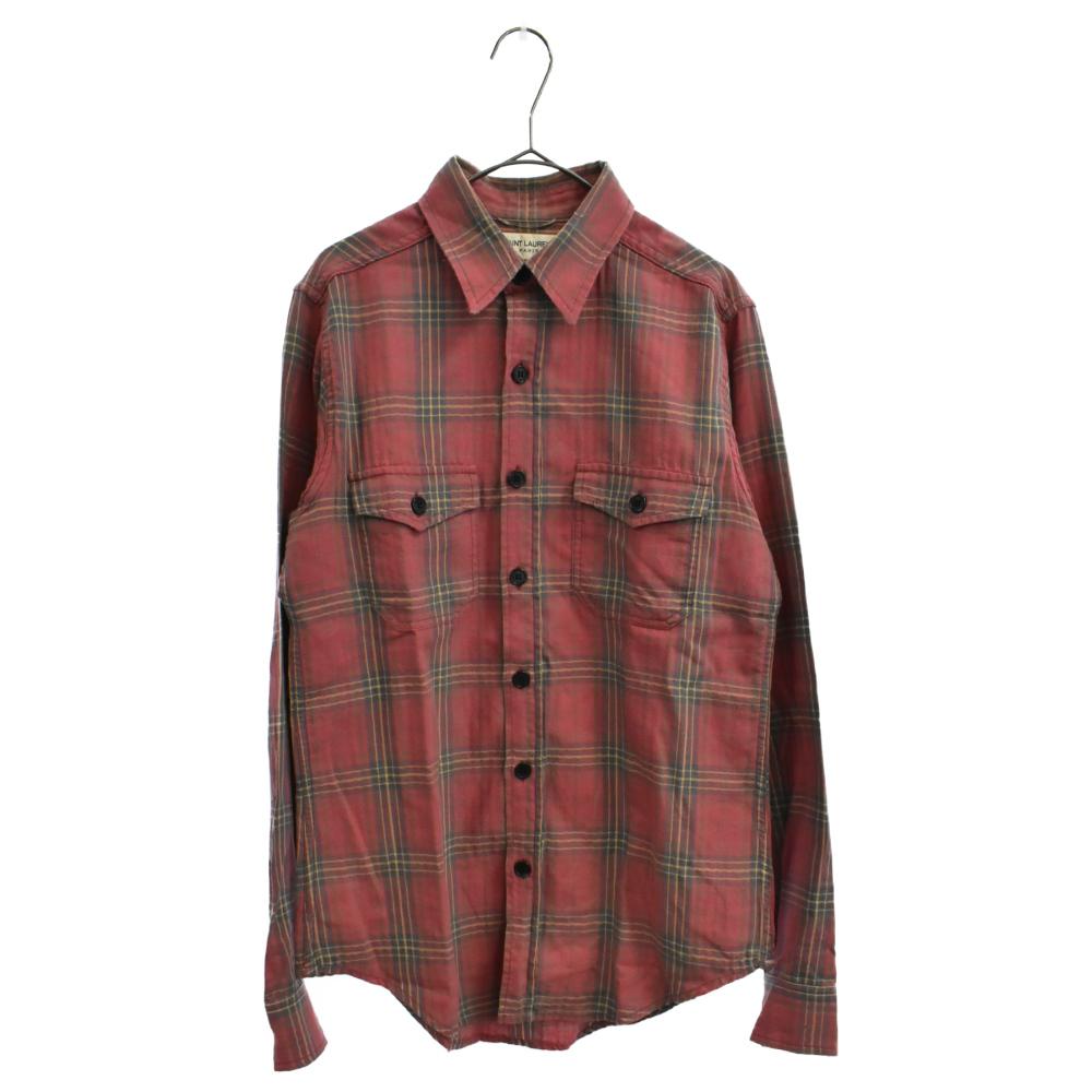 ヴィンテージ加工チェック柄長袖シャツ