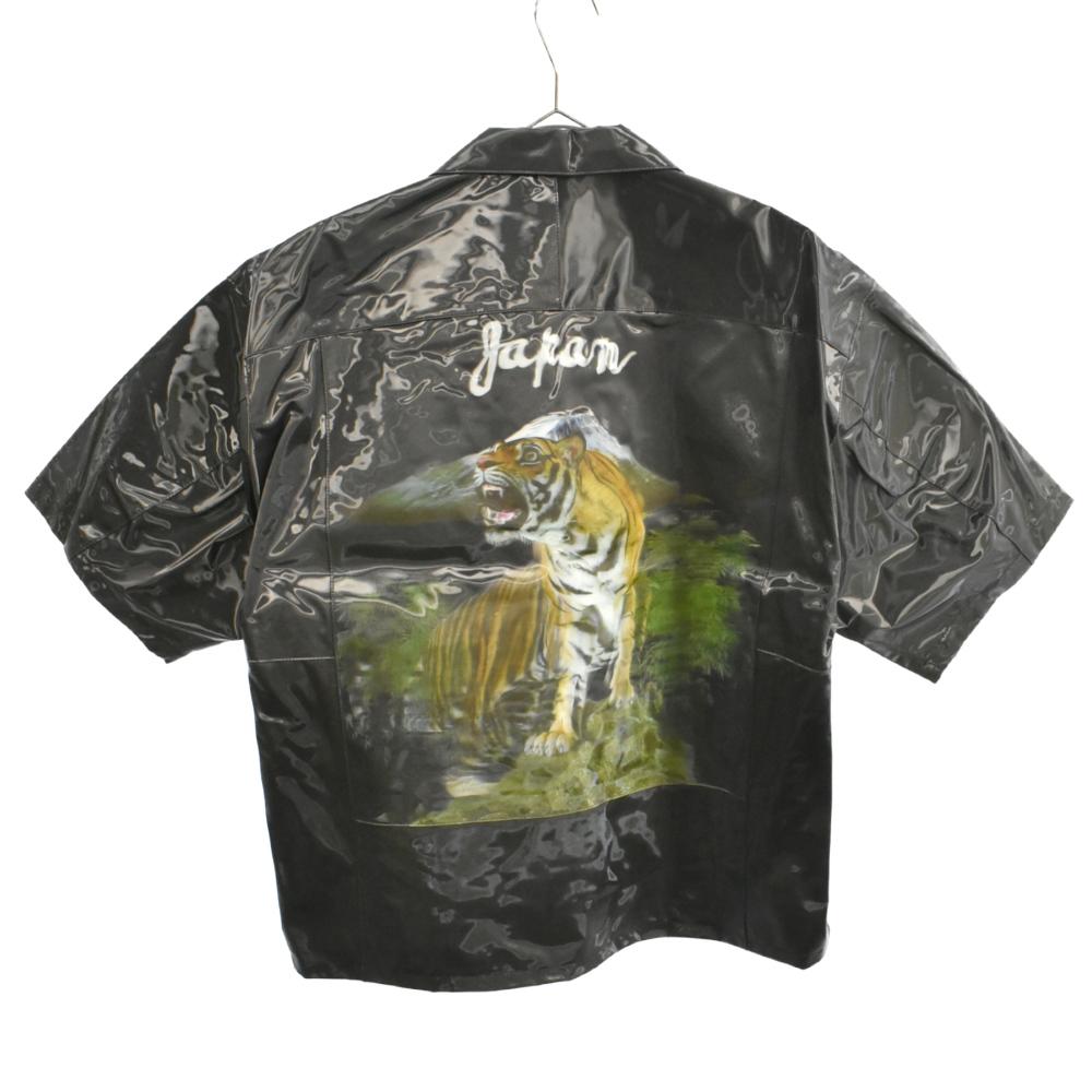3D PRINTED OPEN COLLAR SHIRT 3Dタイガープリントオープンカラー半袖シャツ