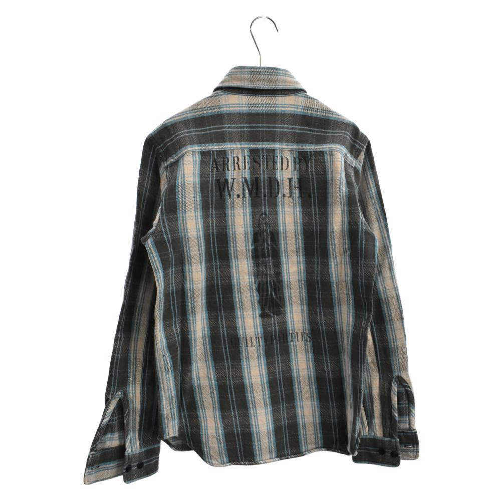 バックプリントチェック柄長袖シャツ