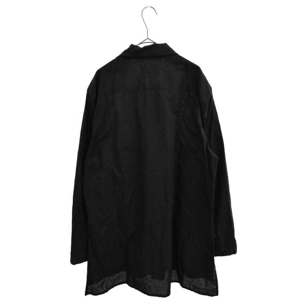 リネン混オーバーサイズスタンドカラーロングスリーブシャツ