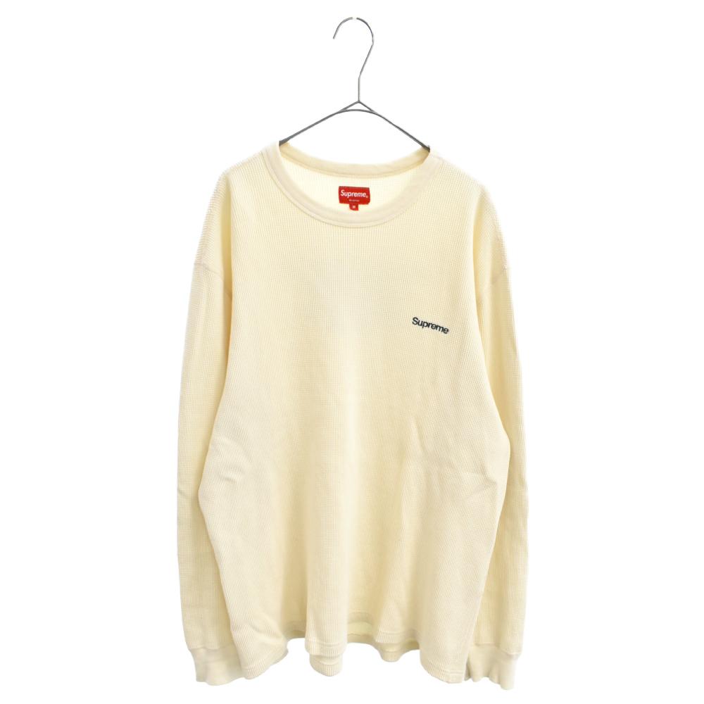 HQ Waffle Thermal ロゴ刺繍長袖Tシャツ サーマルホワイト ロンT