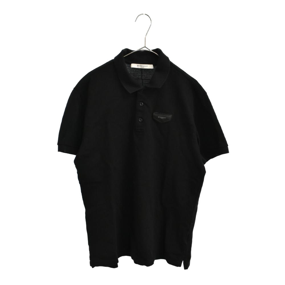レザーロゴパッチコットン半袖ポロシャツ