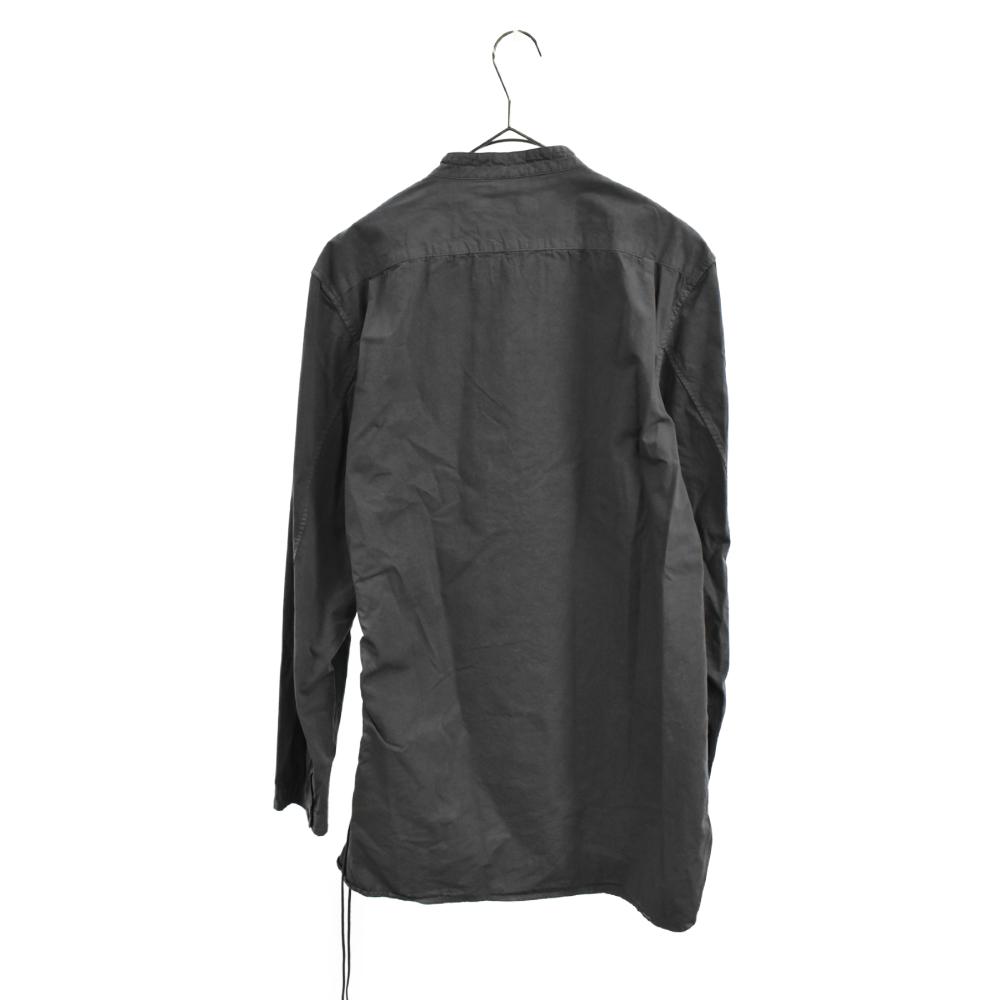 サイド編み込みノーカラーシャツ