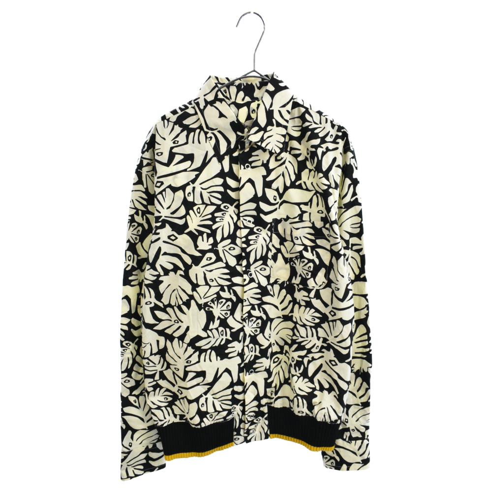 裾リブデザイン総柄長袖シャツ