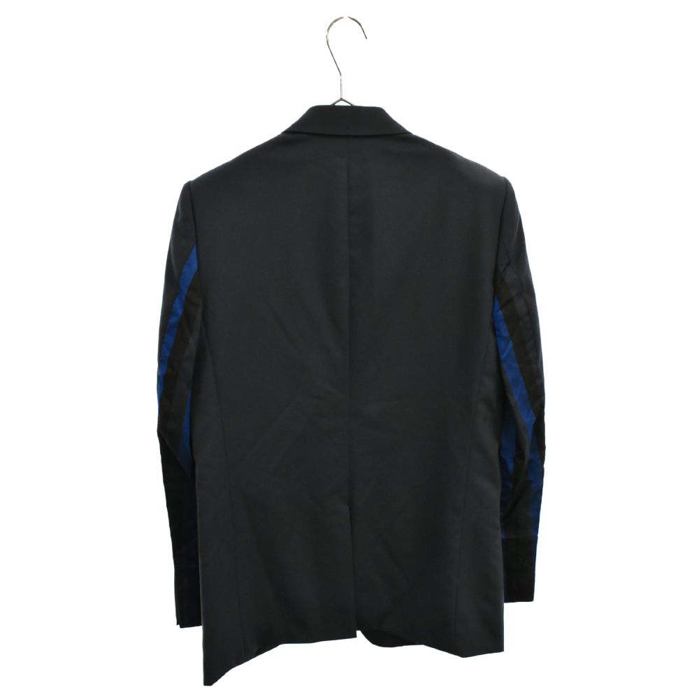 袖ストライプ生地切り替えテーラードジャケット