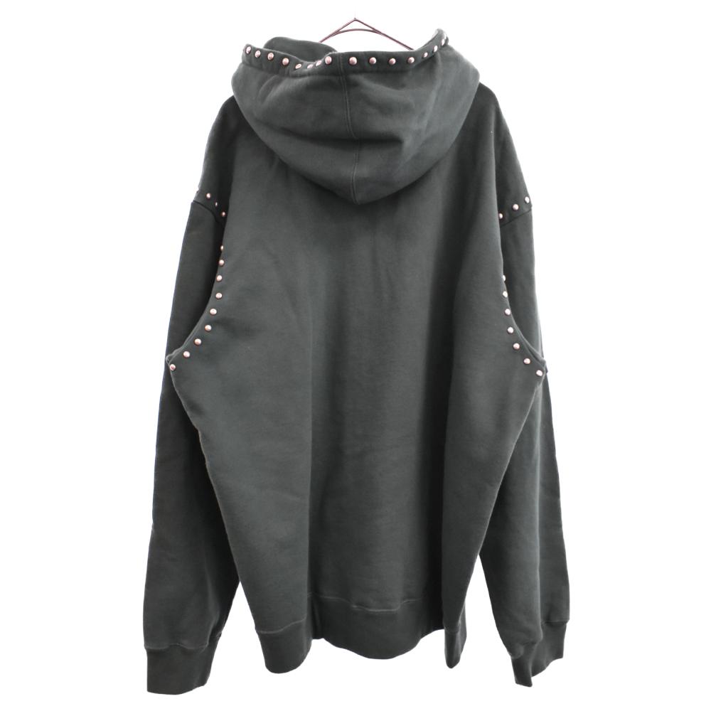 studded hood sweatshit スタッズフロントロゴプリントスウェットパーカー