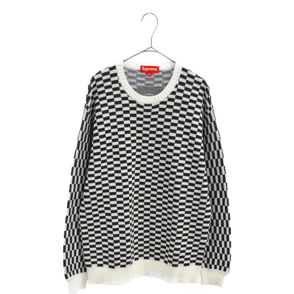 Back Logo Sweater バックロゴブロックチェックニットセーター