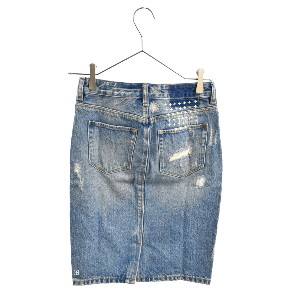 ダメージ加工デニムタイトスカート