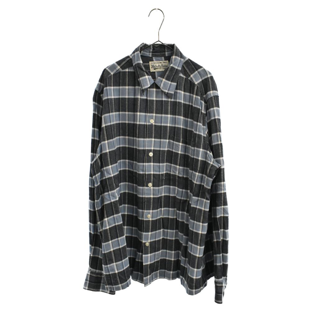 胸ポケット付きチェックロングスリーブドレスシャツ