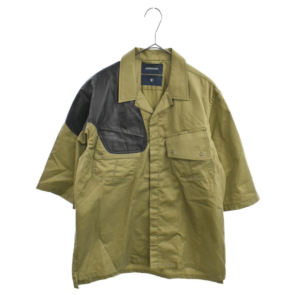 レザーパッチミリタリー半袖シャツ