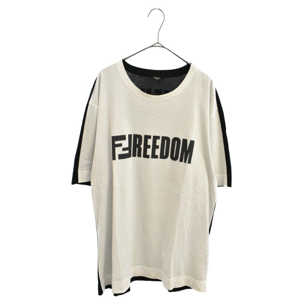 FREEDON FENDI ロゴプリントバイカラー切替半袖Tシャツ