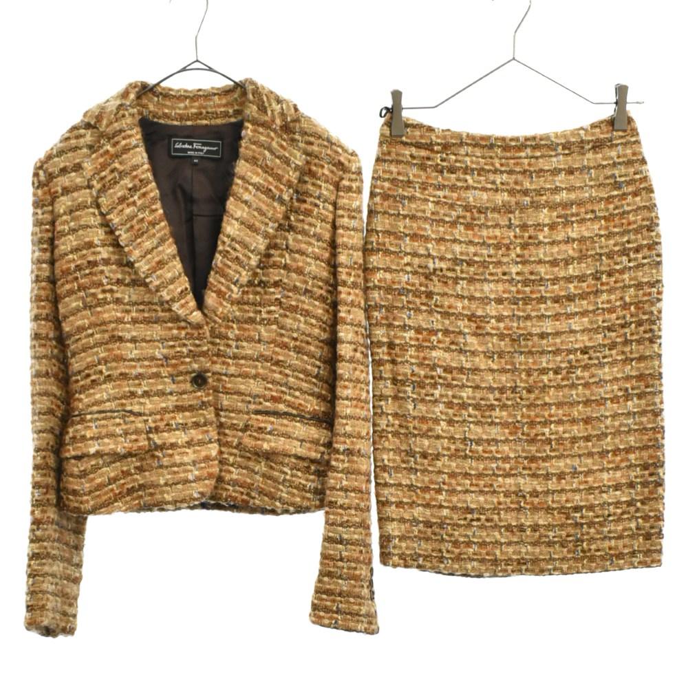 モヘア混ラメ糸ツイードセットアップ 1Bテーラードジャケット タイトスカート