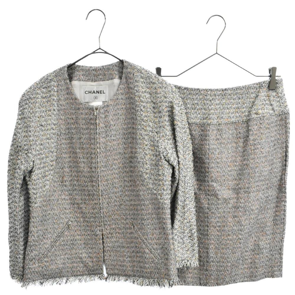 グリッド柄ツイードセットアップ ジップアップジャケット セミタイトスカート