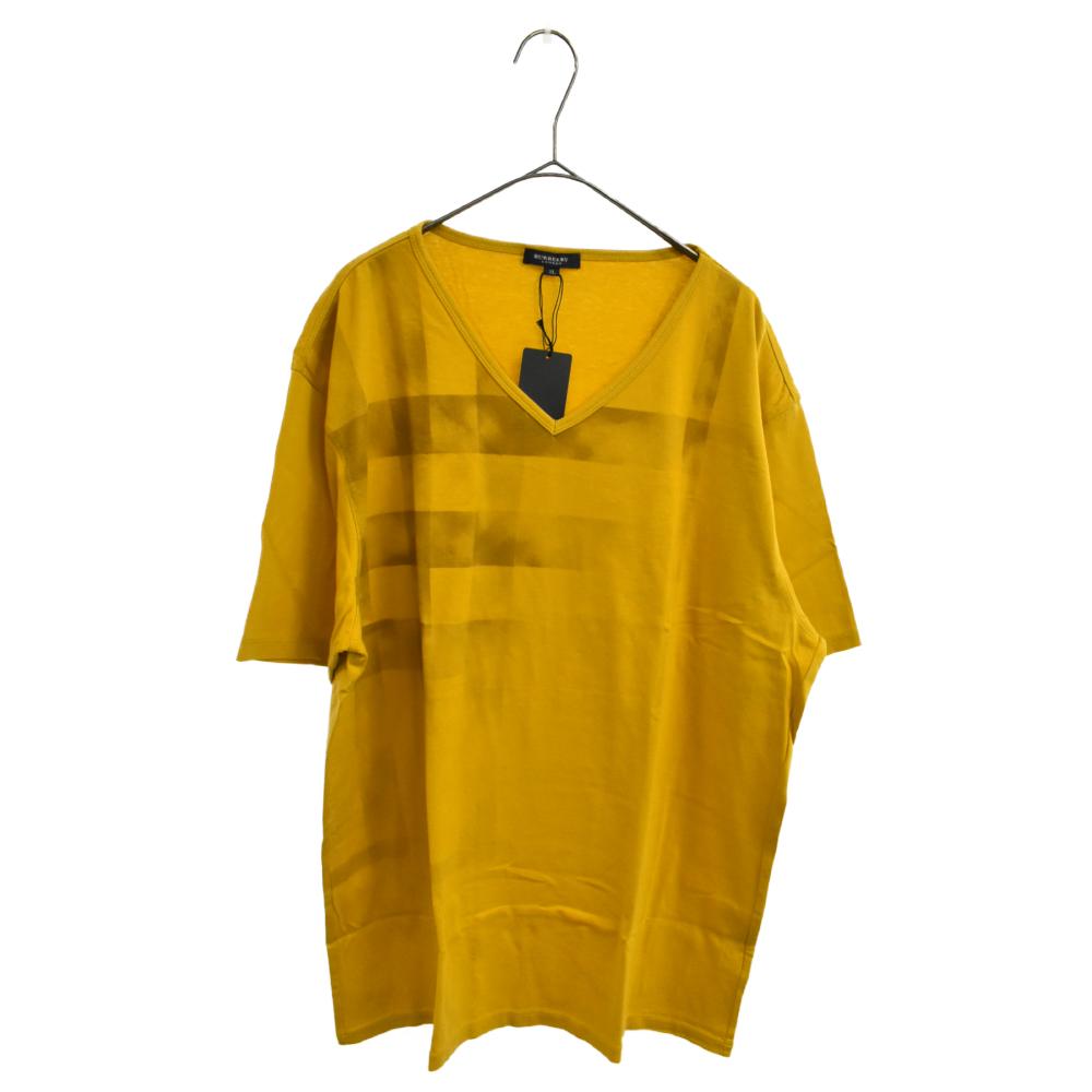 チェック柄Vネック半袖Tシャツ