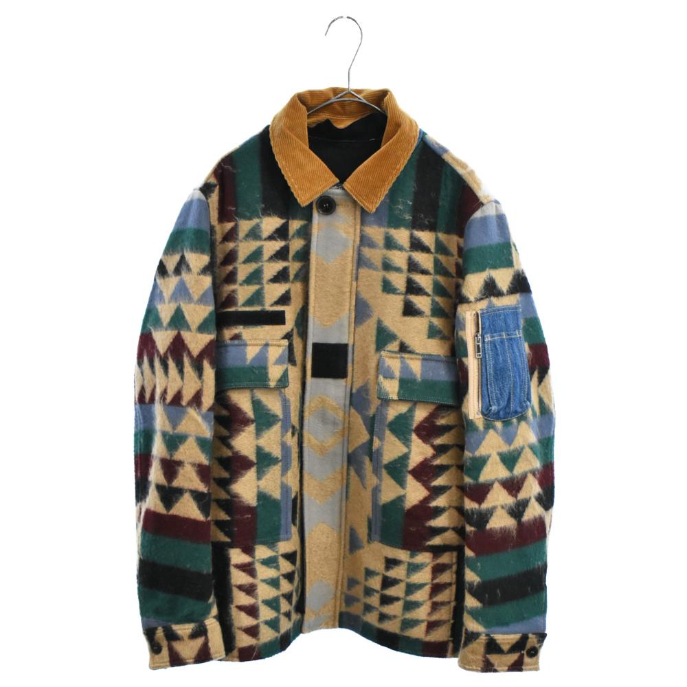 ネイティブ柄デニム切り替えジャケット コート