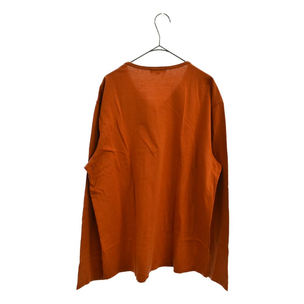 チェック柄Vネック長袖Tシャツ