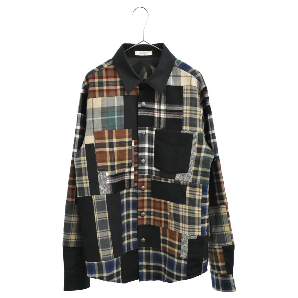 マルチチェックパターンパッチワークスナップボタン長袖シャツ ジャケット 裏地カモ柄