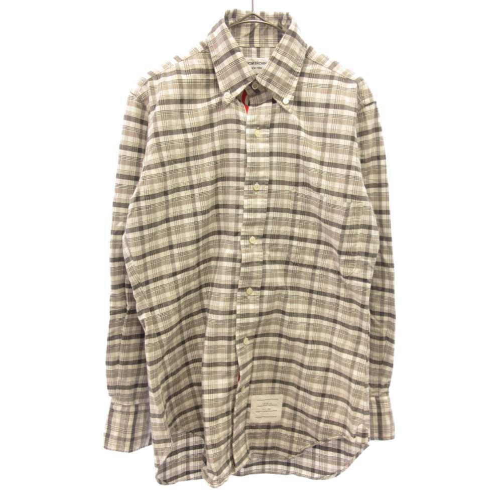 トリコロールテープ チェック柄長袖シャツ