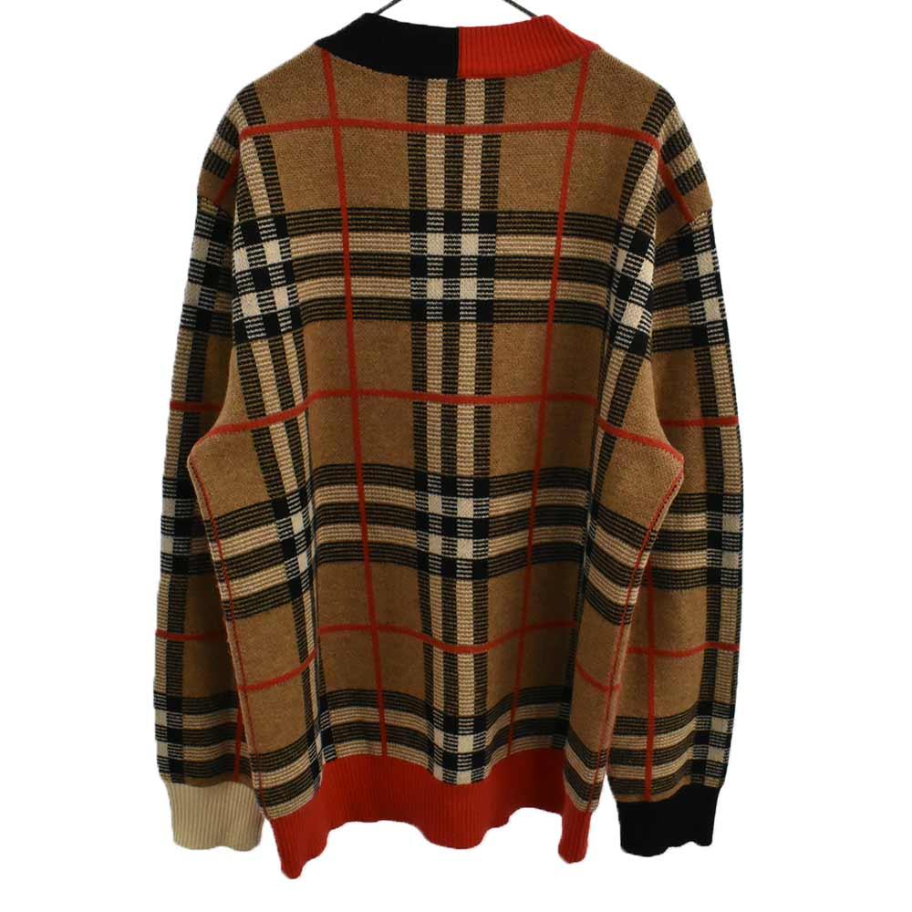 タータンチェックバイカラーVネックニットセーター