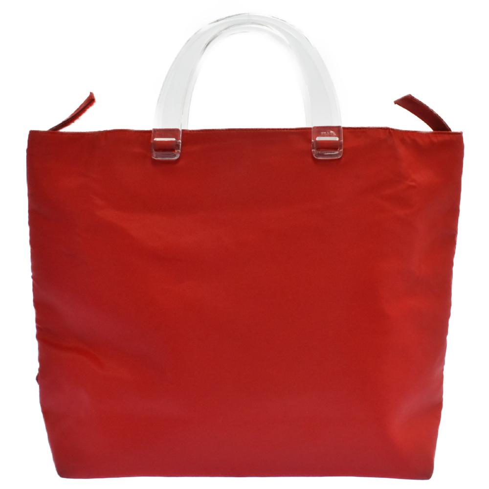 クリアプラスチックハンドルナイロントートバッグ ロゴプレート ハンドバッグ