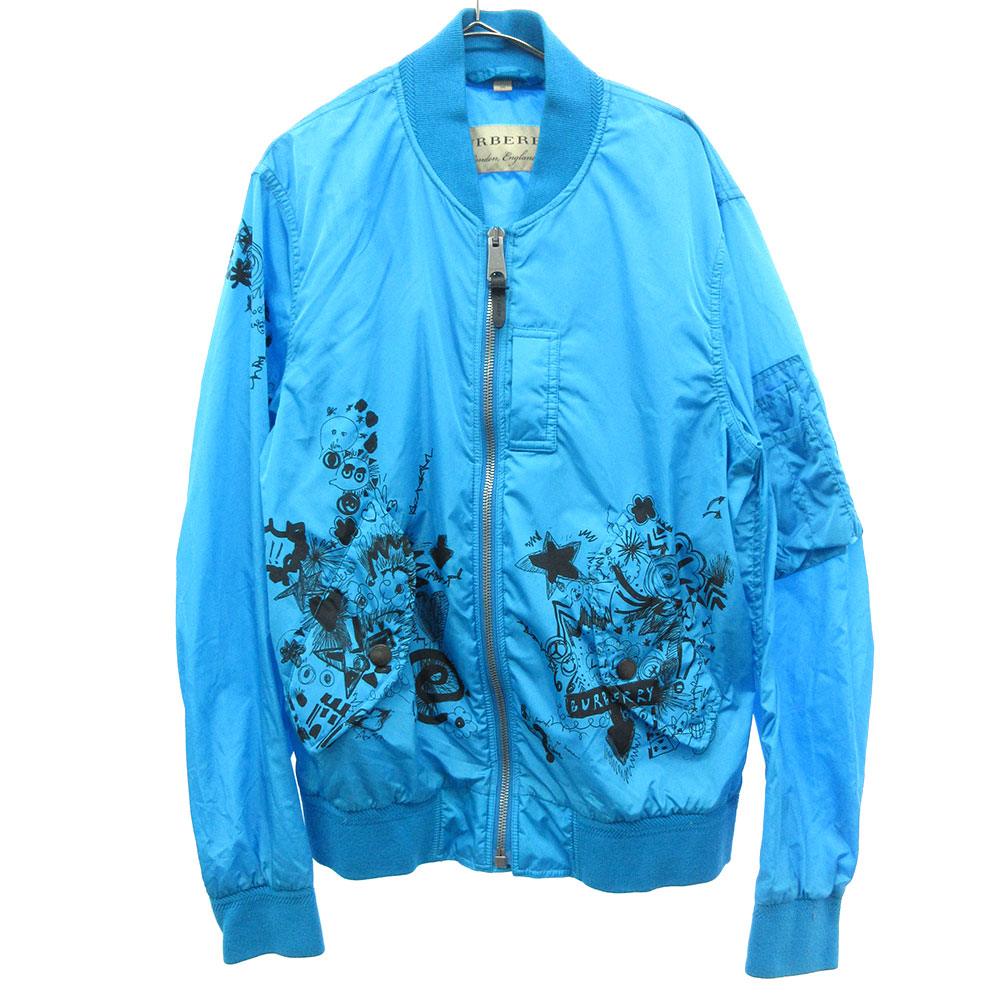 Bright Blue BRINKLEY Nylon Bomber Jacket Doodle Print 落書きペイントナイロンボンバージャケット ブルゾン