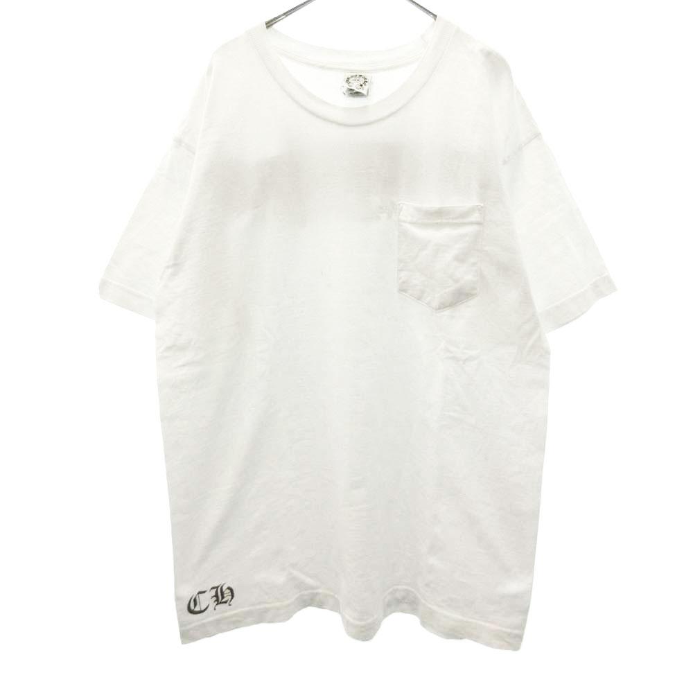 ポケット付 スクロールラベル フローラルクロスプリントTシャツ