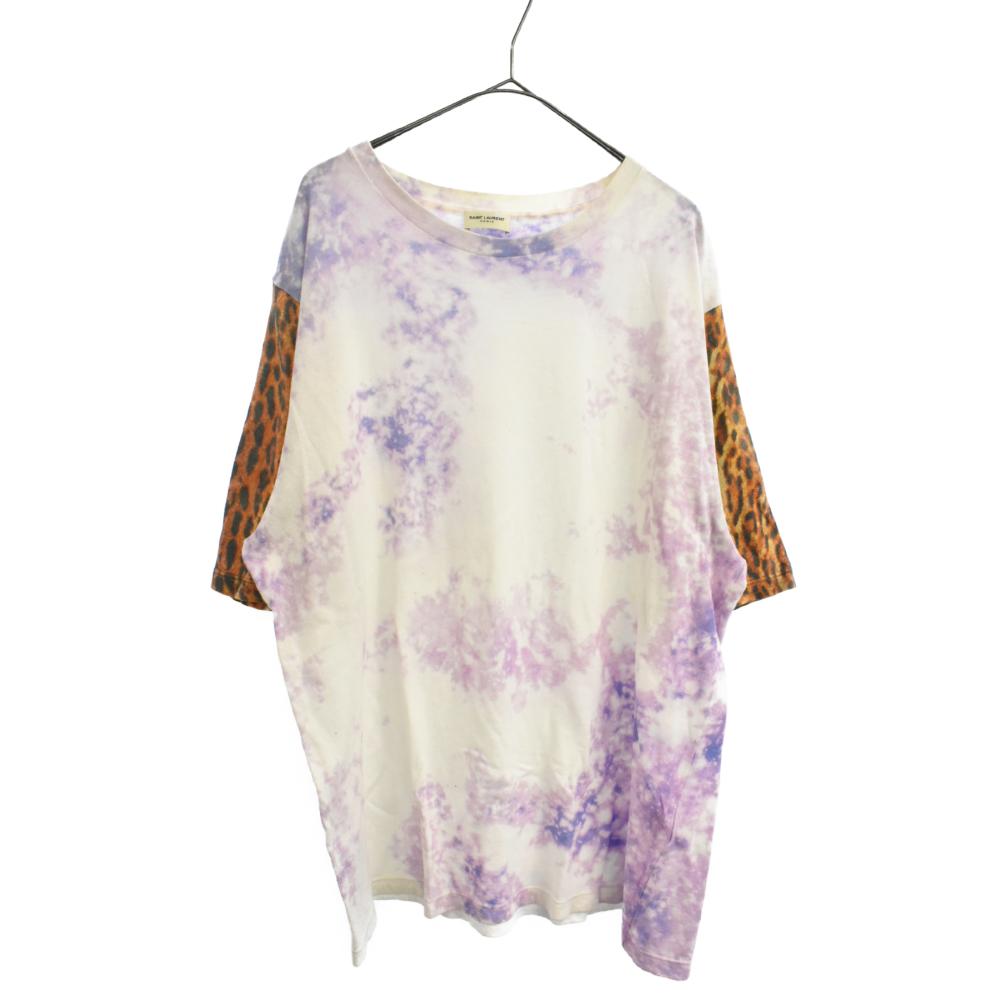 レオパード切り替えタイダイオーバーサイズ半袖Tシャツ
