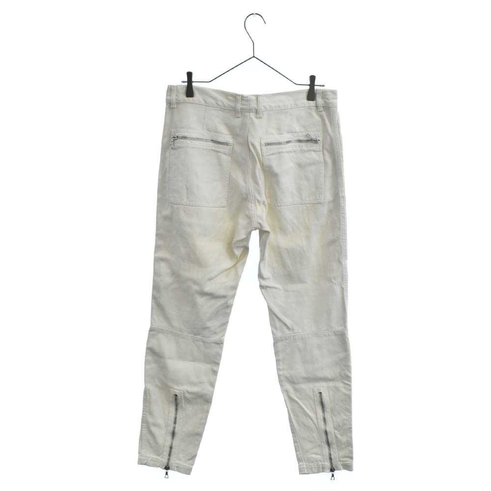ホワイトカラー裾ジップロングデニムパンツ