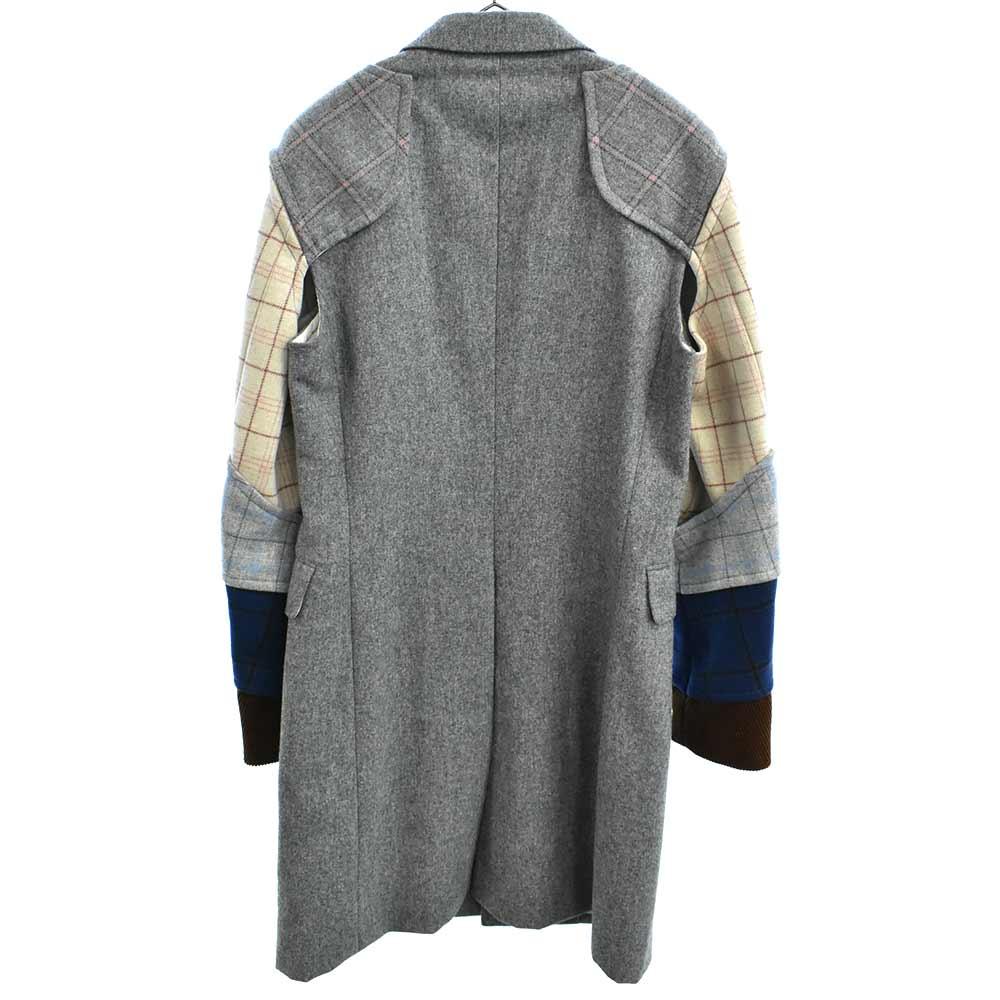 平和の鎧期 チェック柄切替甲冑ロングジャケット コート