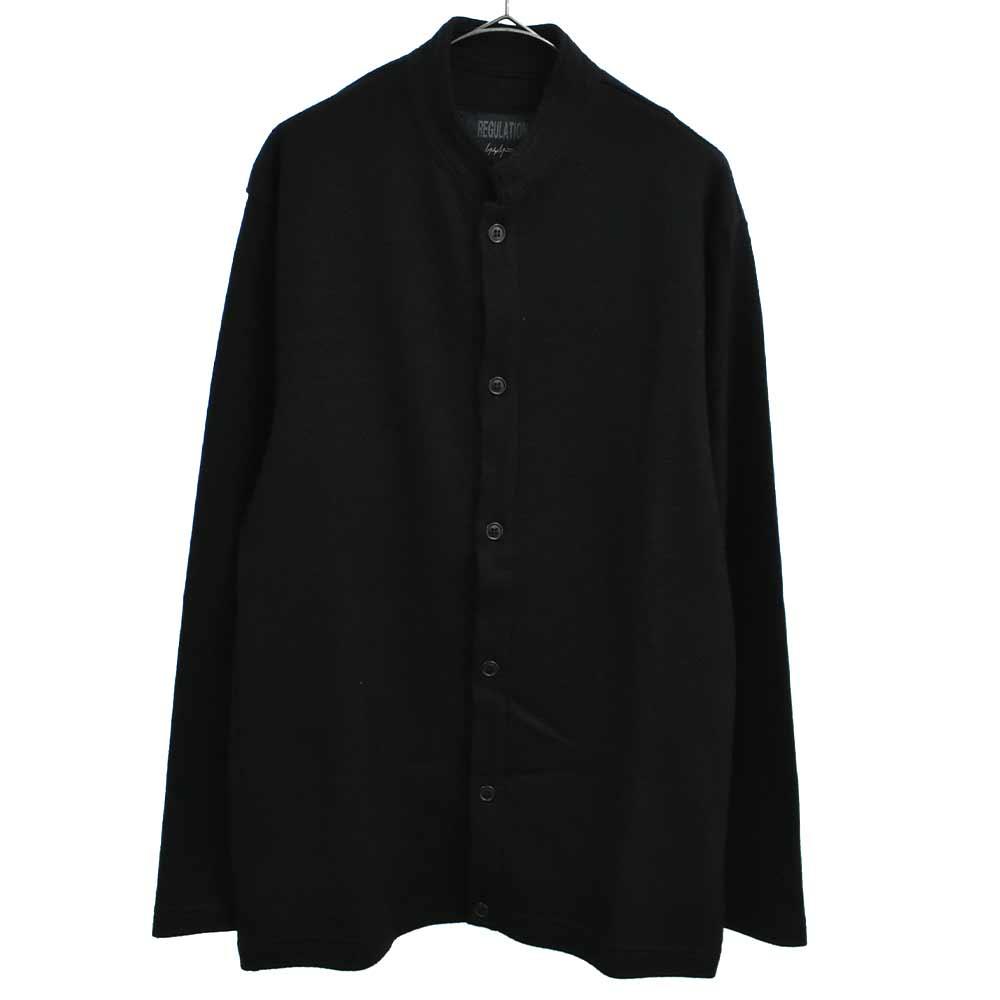 ウールニットスタンドカラー長袖シャツ