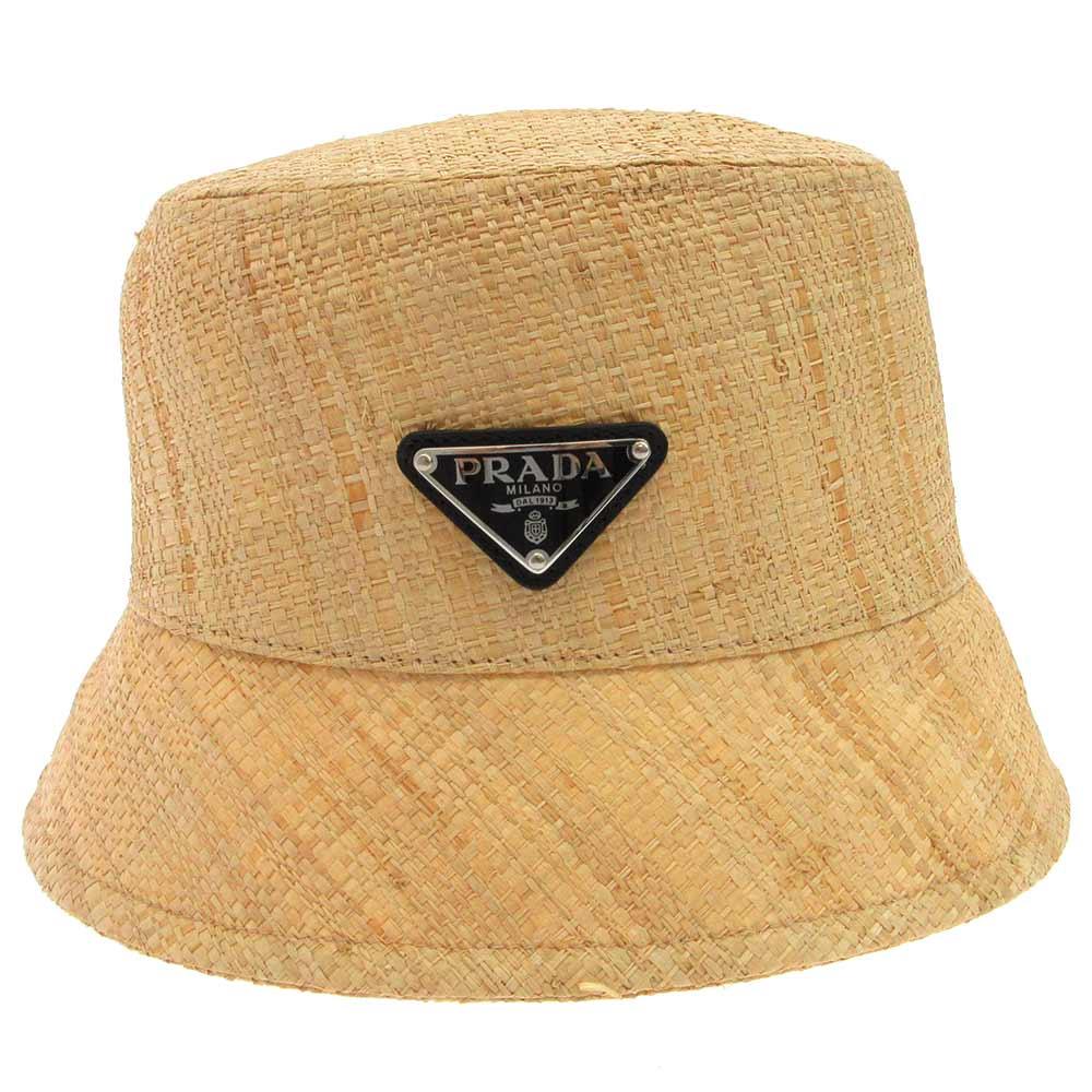 STRAW HAT ロゴプレートストローバケットハット