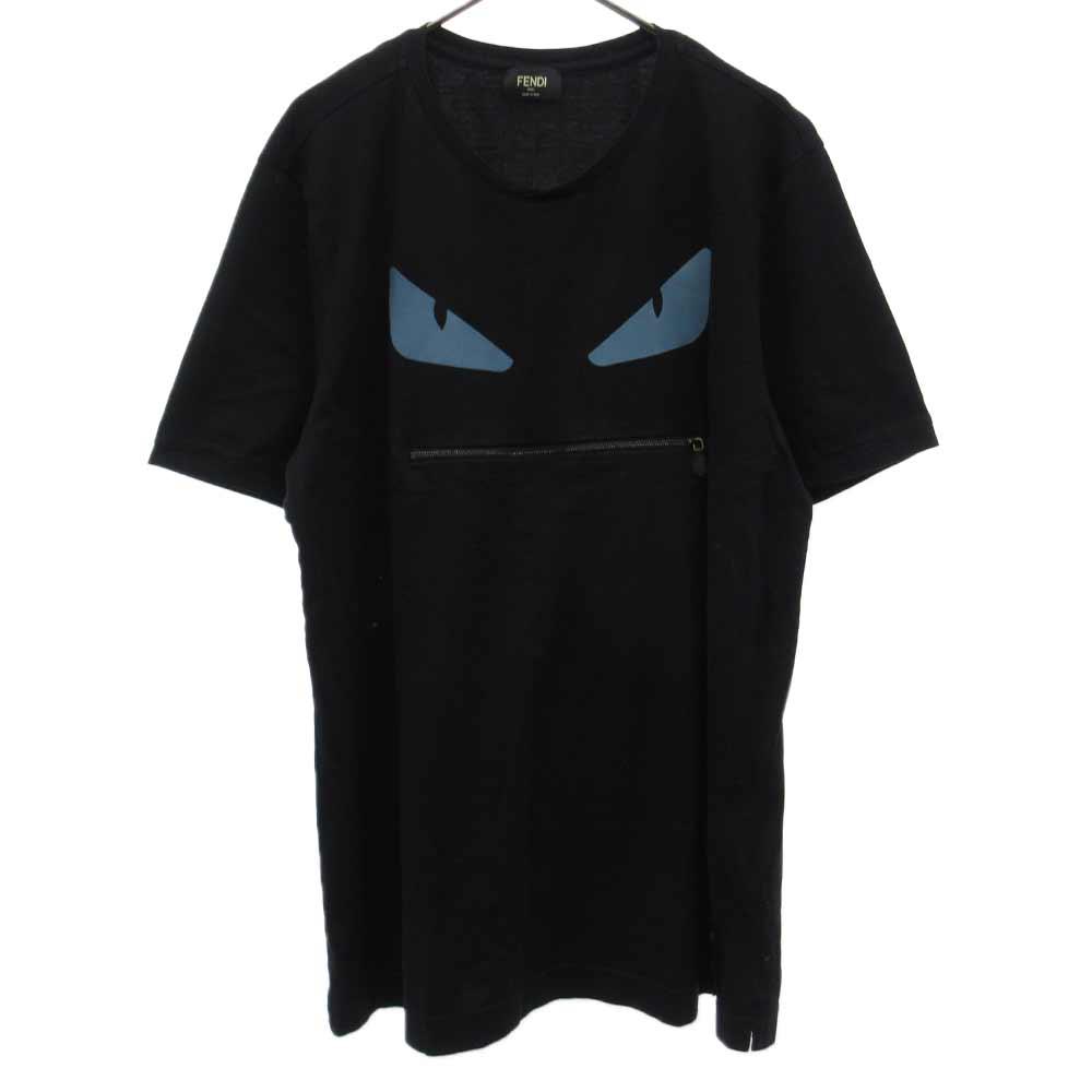 モンスター プリントジップデザイン半袖Tシャツ