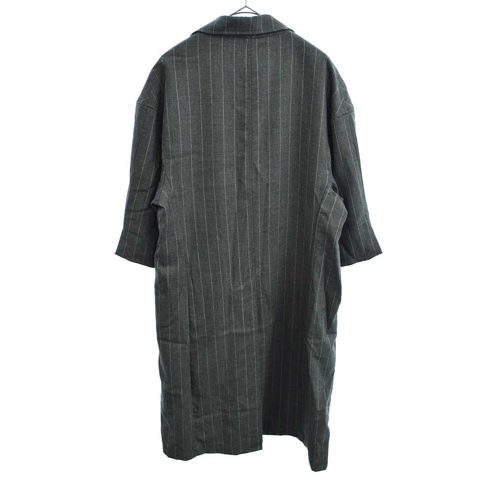 FIFTH COLLECTION Wool Striped Overcoat ストライプ半袖オーバーコート