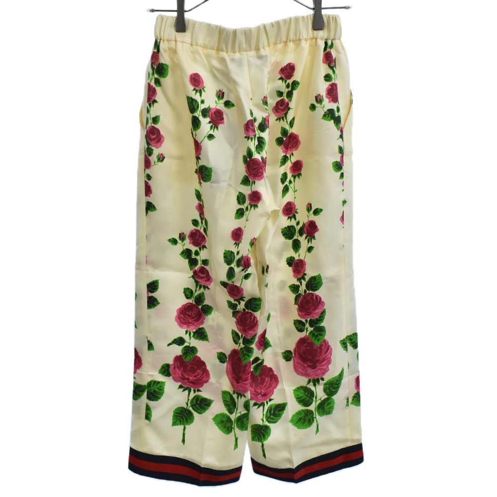 Silk Floral Print Pants シルクフローラル総柄シェリーラインワイドパジャマパンツ