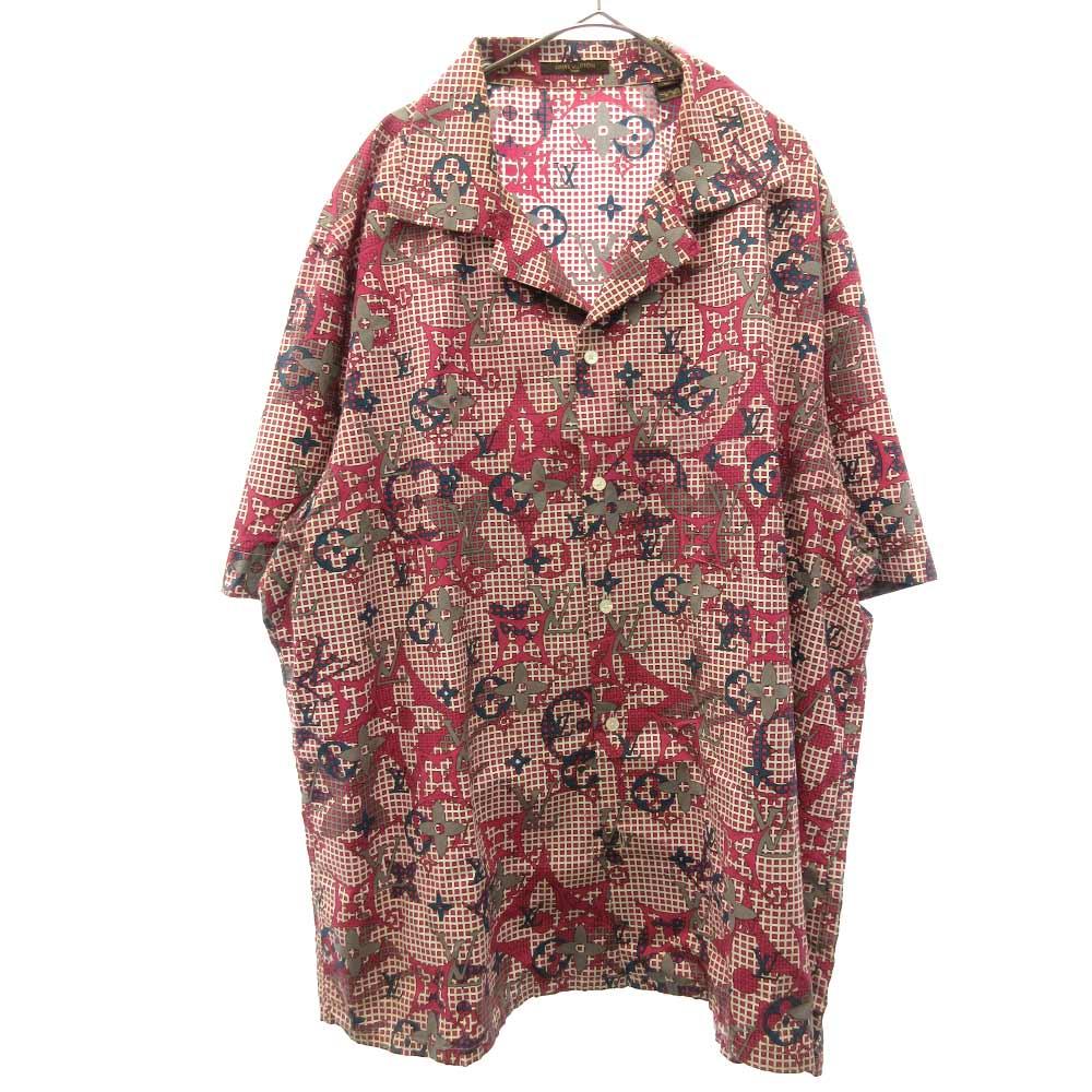 モノグラムチェックオープンカラー半袖シャツ 開襟シャツ 総柄アロハシャツ