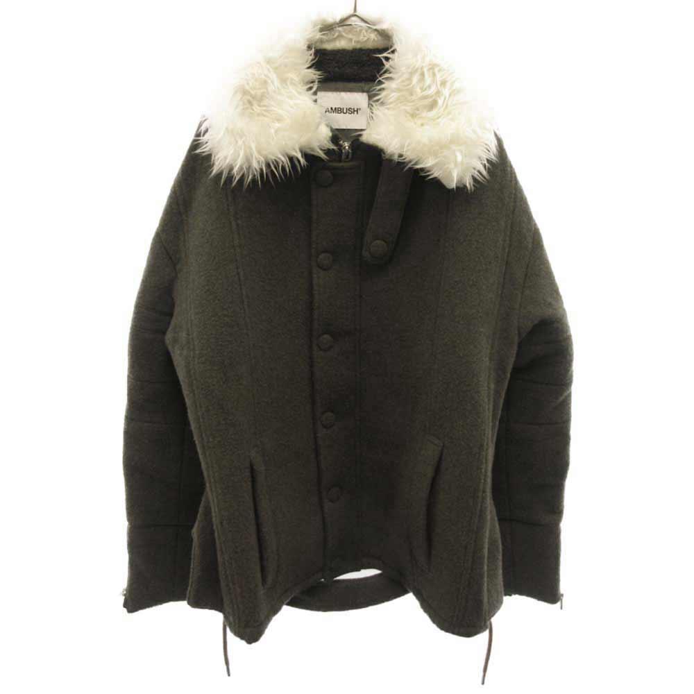 Textured Collar Coat ファー付きミリタリーウールコート