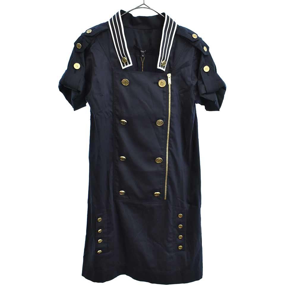 金ボタンシルクワンピース ドレス