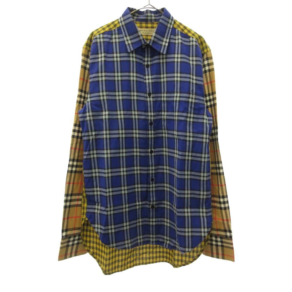 チェックシャツ 切り替え ロングスリーブ 長袖 シャツ