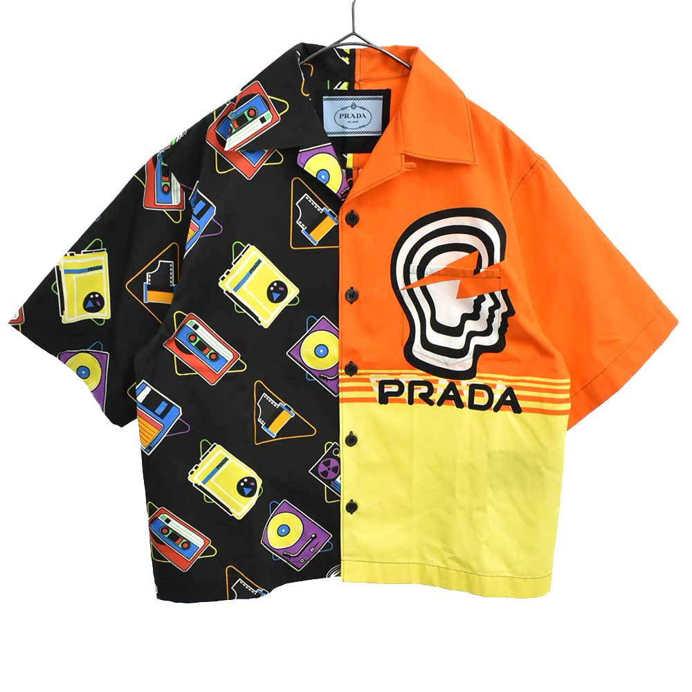 ダブルマッチ ボウリングシャツ 半袖シャツ プラダヴァーティゴxマキシデジタルプリント