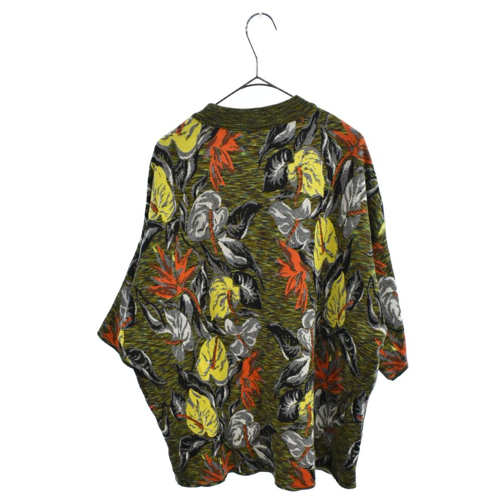 ロゴプリントブルームスペースダイジャガードTシャツ 花柄半袖ニットセーター