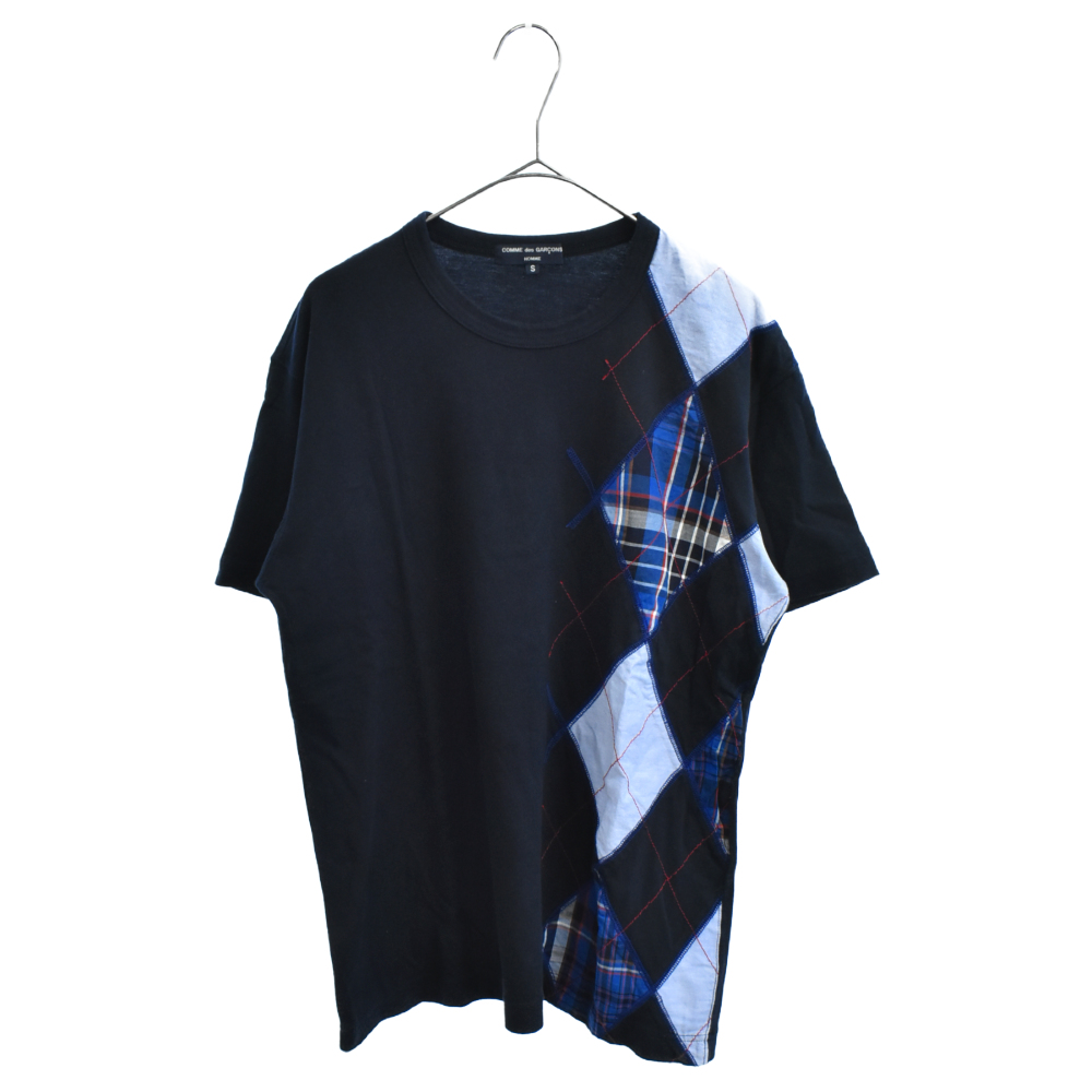 アーガイル柄切替パッチワーク半袖Tシャツ