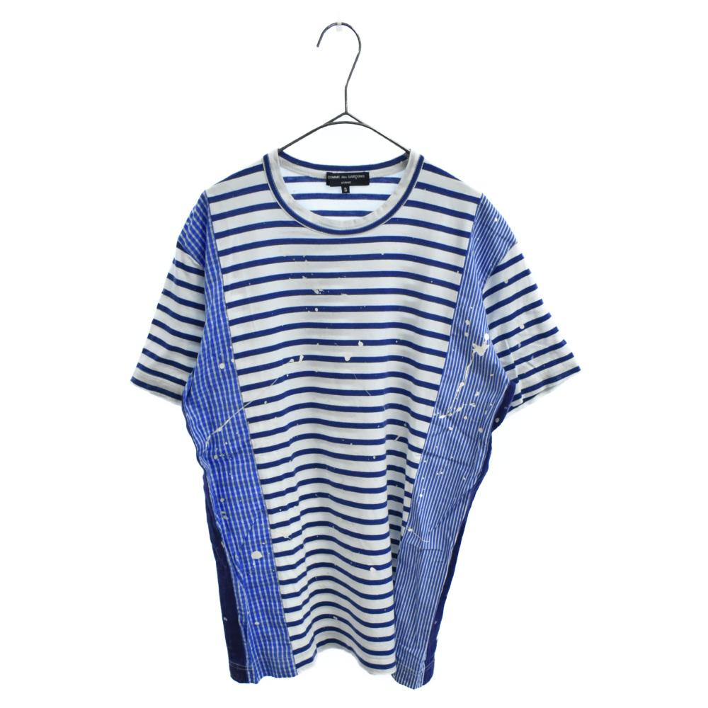 シャツ地切替ペンキ加工ボーダー柄半袖Tシャツ
