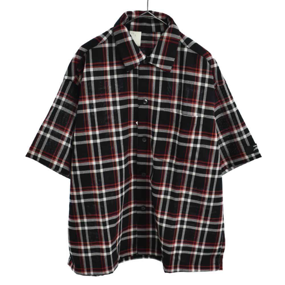 ビックシルエットチェック半袖シャツ