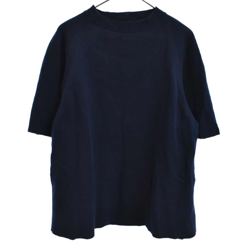クルーネック半袖ニットセーター
