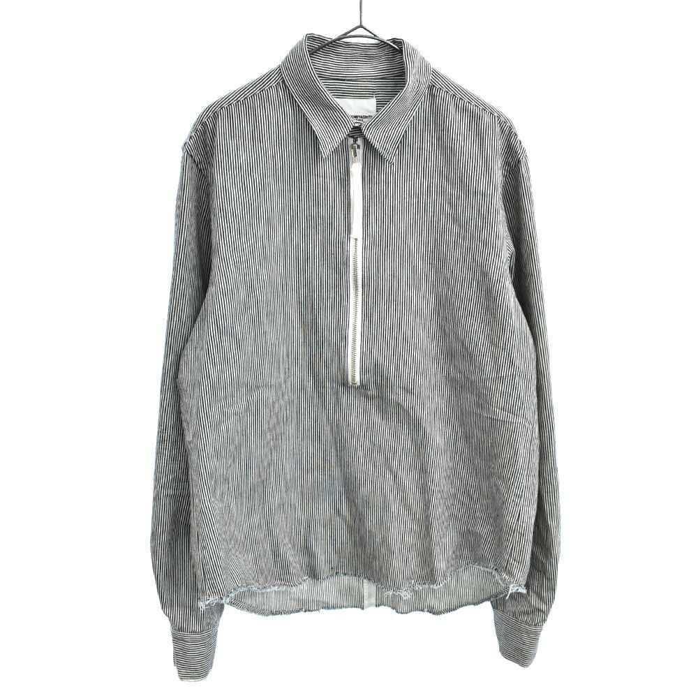 PRIMALOFT ヒッコリーストライプハーフジップ長袖ワークシャツ