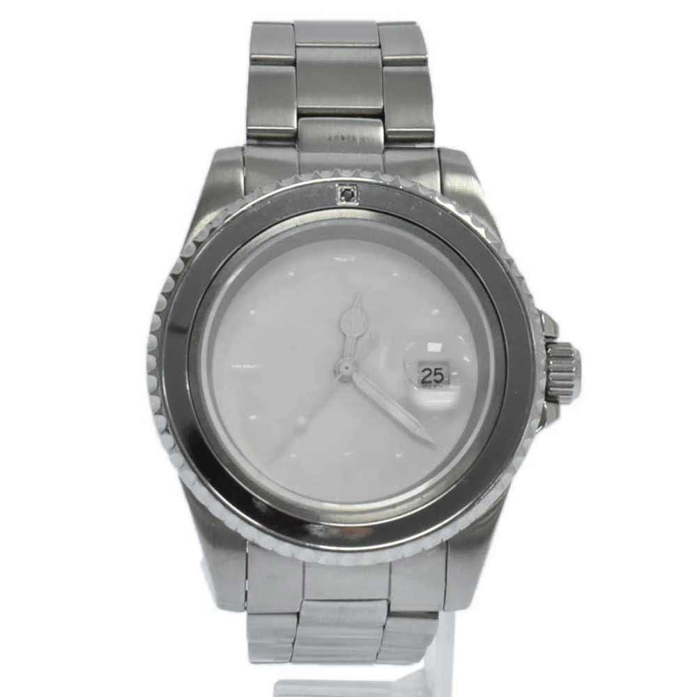 ×JAM HOME MADE DIAMOND WATCH ダイヤモンドウォッチ 白文字盤クォーツダイバーズウオッチ シルバー 腕時計 ジャムホームメイド