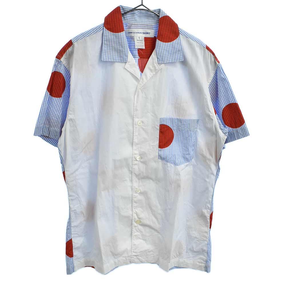 チェック&ドット柄オープンカラー半袖シャツ