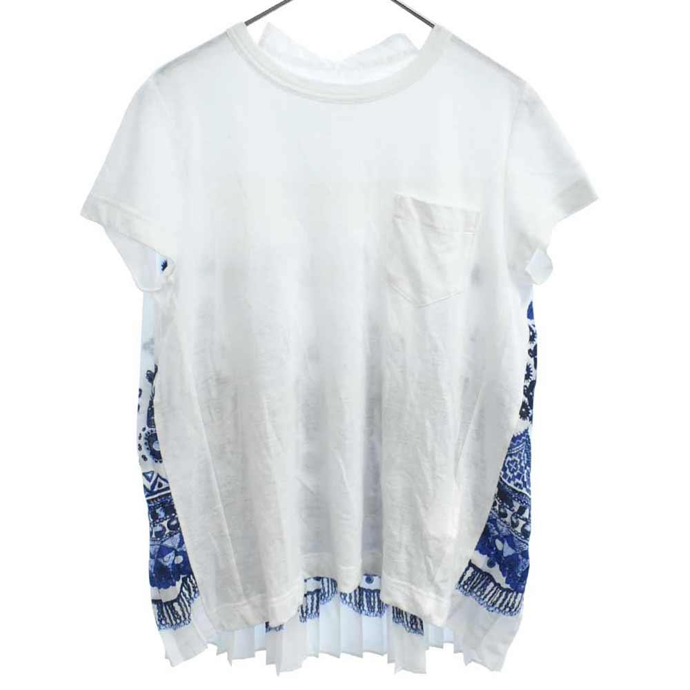バックプリーツ 切り替え ポケット付 フレア半袖Tシャツ