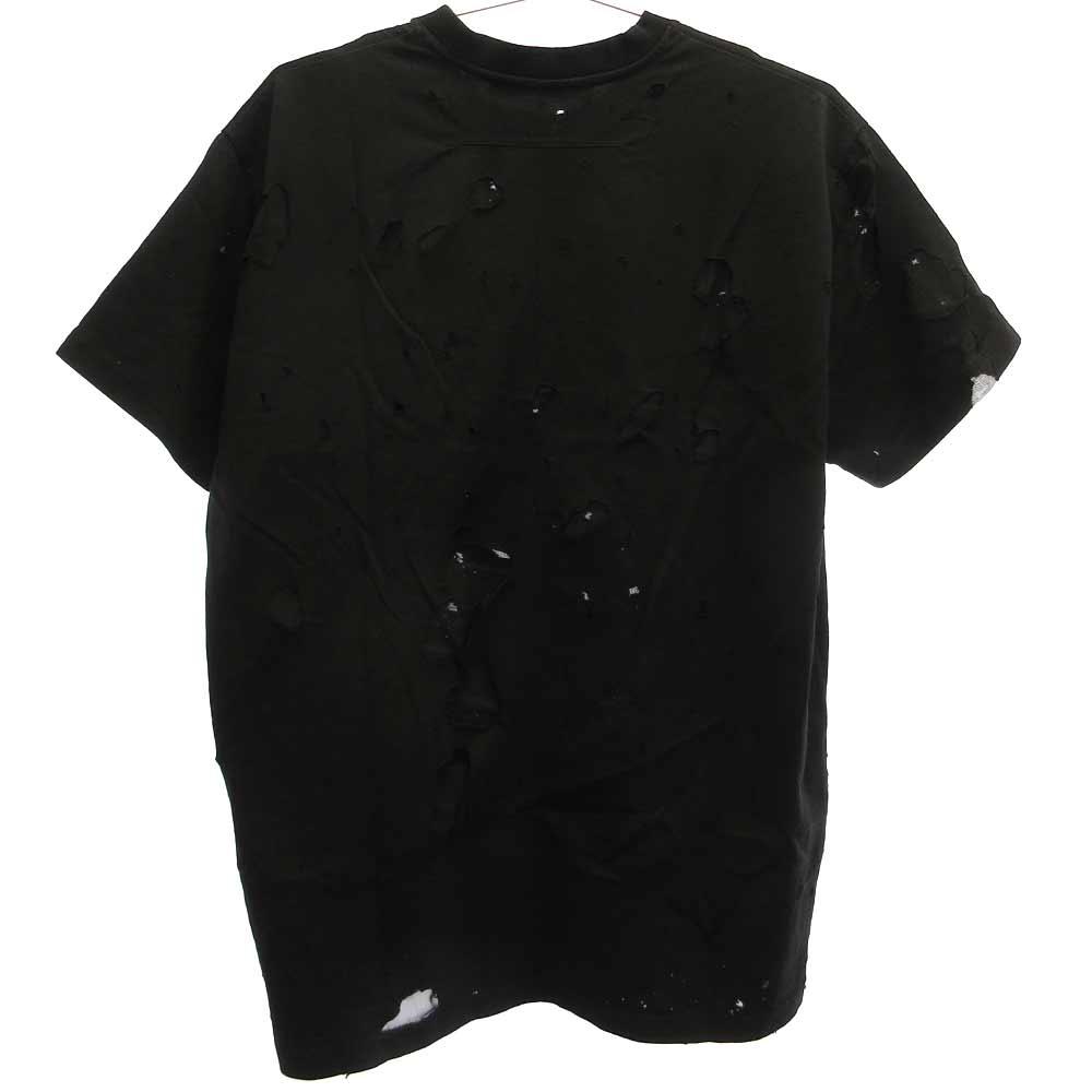 デストロイ加工ロゴプリント半袖Tシャツ