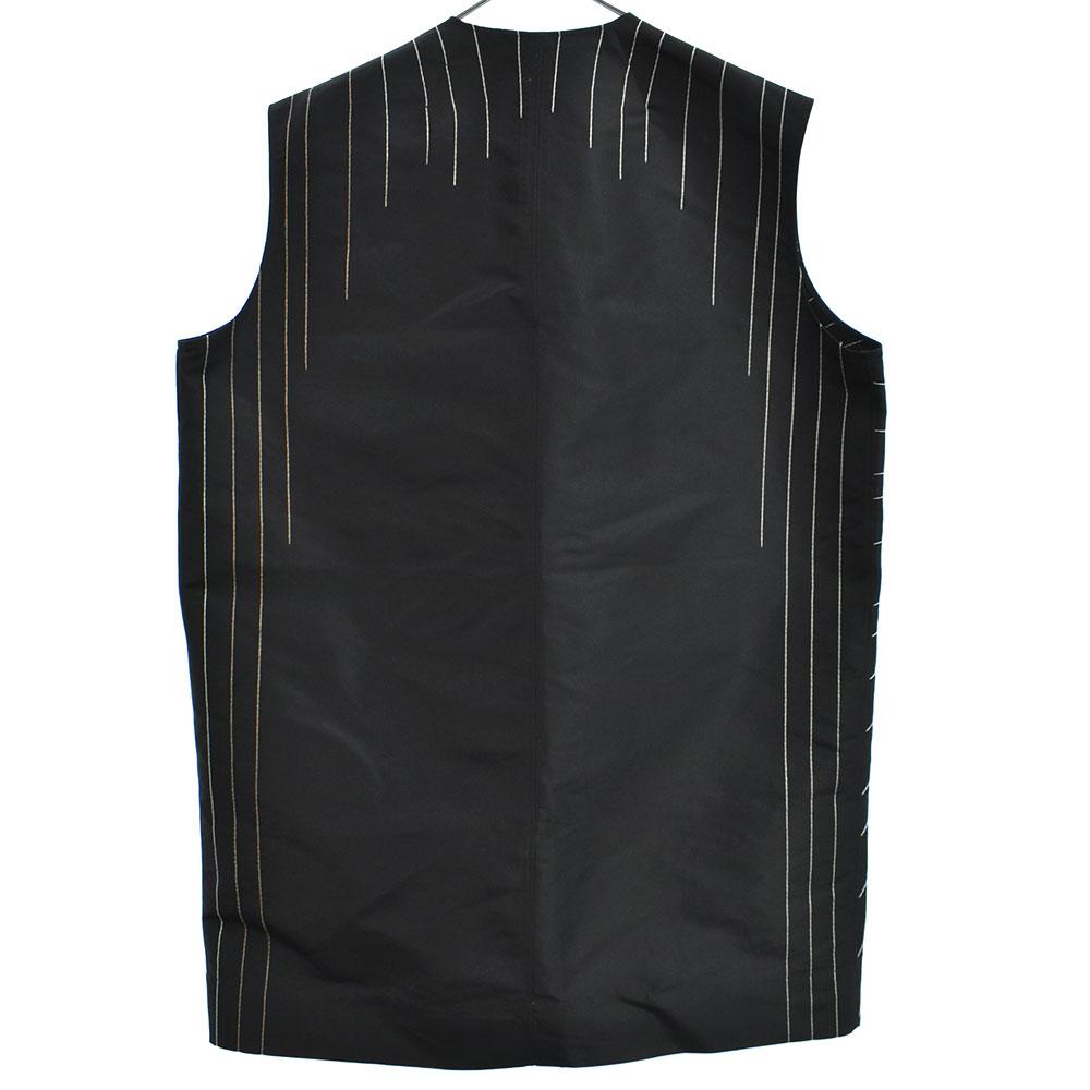 WALRUS期 LOOK35 Oversize Embroidery V Pullover Shirt RR17S9171-FAEMR 刺繍シルクプルオーバーVネックオーバーサイズノースリーブシャツ